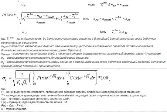 Формула расчета индекса волатильности