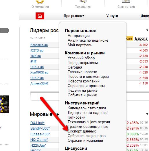 Экспорт в Metastock