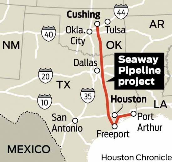Мощность трубопровода Seaway расширена.