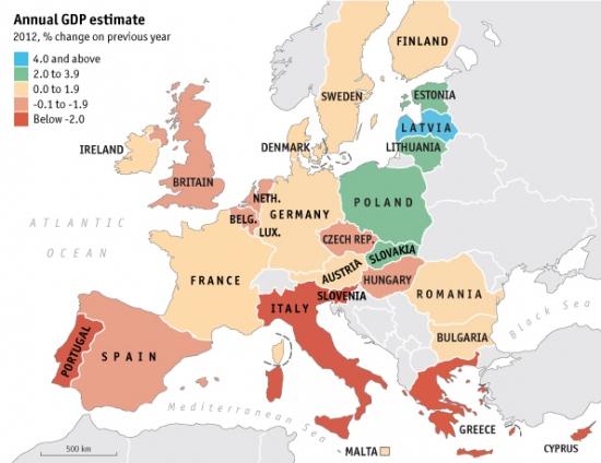 Долг/ВВП европейских стран на одной картинке