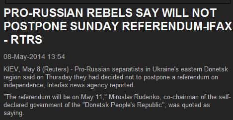 Сепаратисты в Украине сказали, что не будут переносить референдум 11 мая