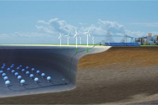 Бетонные шары  на дне озера: Hochtief вместе с фрауэнхофским институтом исследуют новую технологию запасания энергии