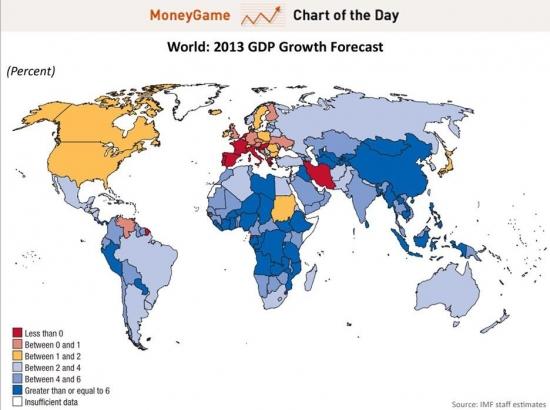 Прогноз роста мировых экономик. МВФ 2013. Карта