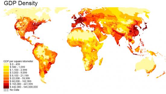 Карта мира. ВВП на квадратный километр.