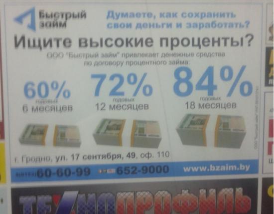 84% годовых в Беларуси?