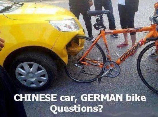 Китайский автомобиль против немецкого велосипеда