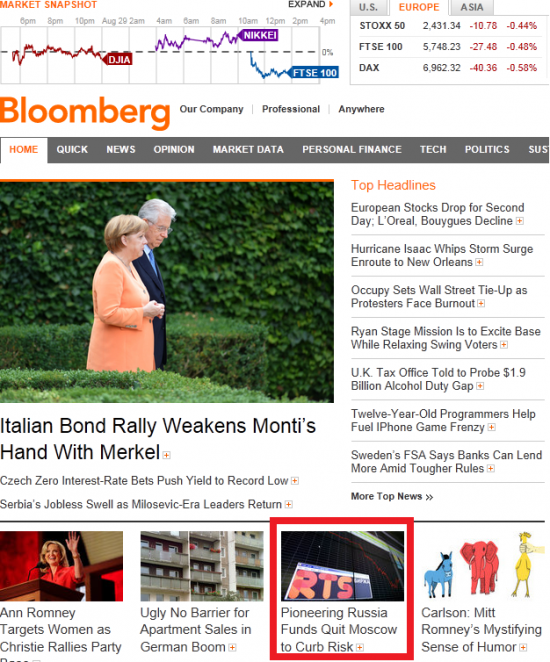 Между тем, на главной станице сайта Bloomberg.com