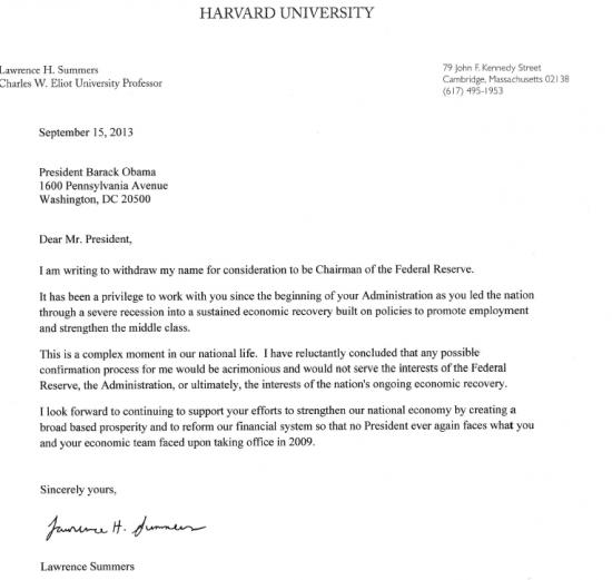 Письмо Саммерса президенту США!!!