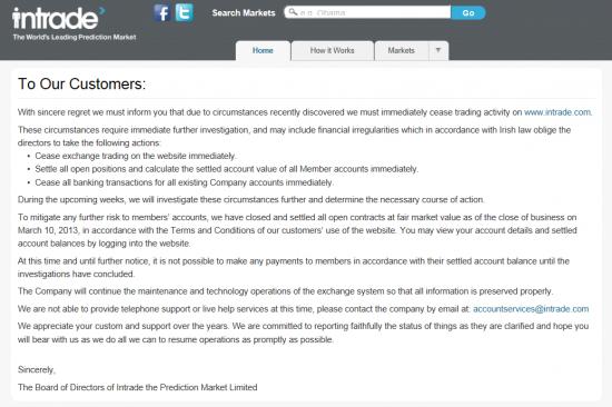 INTRADE.COM Крупнейшая биржа прогнозов прекратила операции и заморозила счета клиентов.