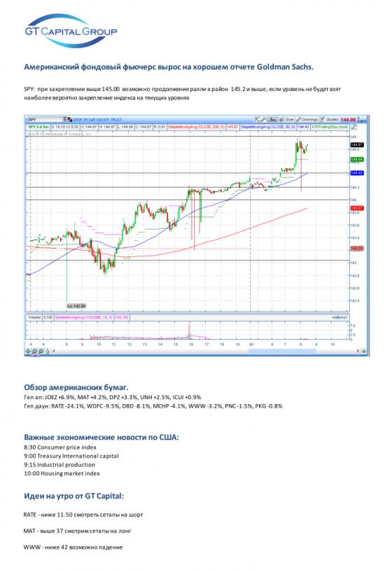 16 октября, вторник. Хороший отчет Goldman Sachs – новый повод для роста рынка?!