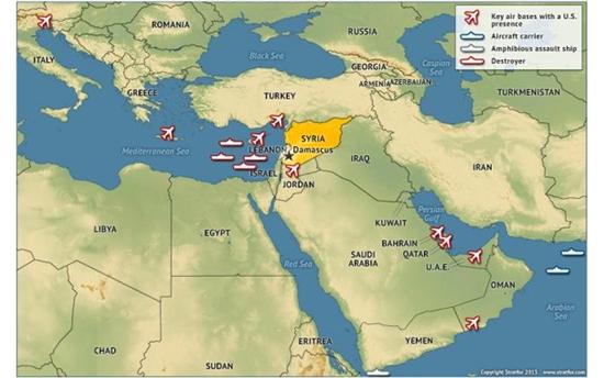 Расположение ударных группировок США в мировом океане