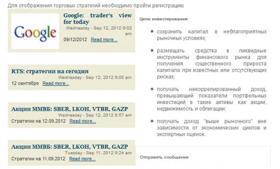 Торговые стратегии на сегодня (12 сентября 2012)