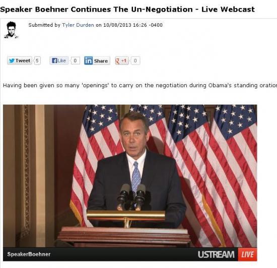 Ответ Бейнера Обаме - прямая трансляция