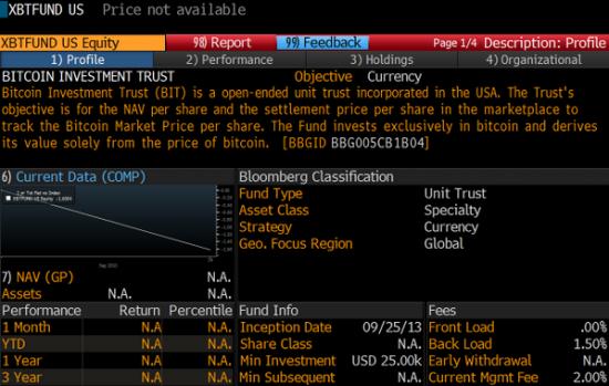 "Блумберг добавил в терминал ""Bitcoin инвестиционный фонд"" SecondMarket"