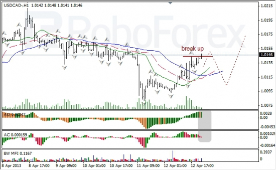 RoboForex: анализ индикаторов Б. Вильямса для USD/CAD и NZD/USD на 15.04.2013 15.04.2013
