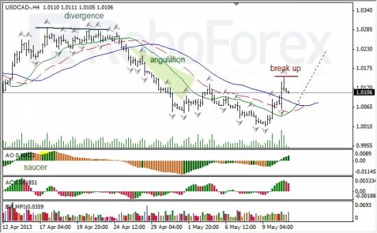 RoboForex: анализ индикаторов Б. Вильямса для USD/CAD и NZD/USD на 13.05.2013