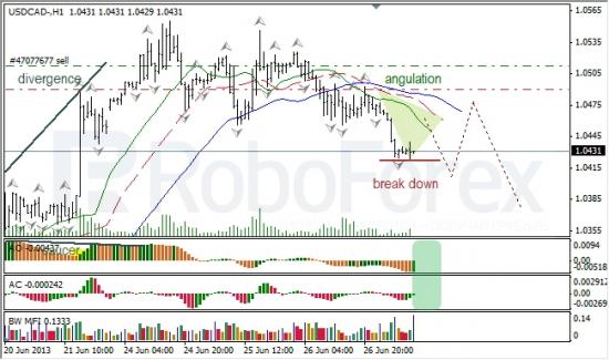 RoboForex: анализ индикаторов Б. Вильямса для USD/CAD и NZD/USD на 27.06.2013