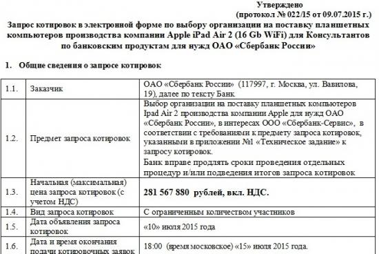 Сбербанк и инновационная закупка на 281 567 880  рублей)