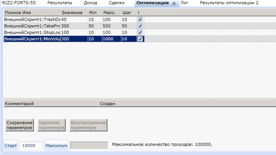 Рисунок 8. Окно оптимизатора параметров с настройками.