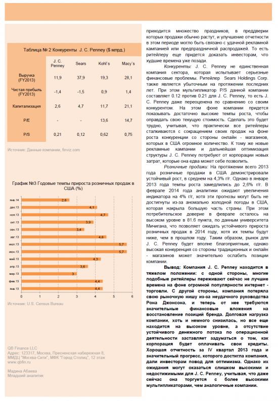 """Обзор акций компании J.C.Penney (JCP). Рекомендация """"Покупать""""."""
