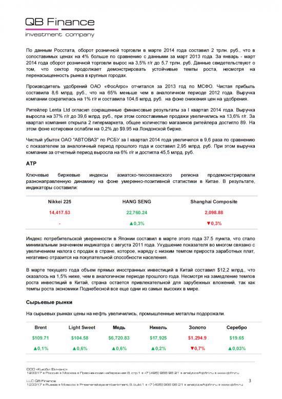 - 17.04.14 - Ежедневный обзор фондовых рынков