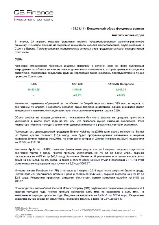 - 24.04.14 - Ежедневный обзор фондовых рынков