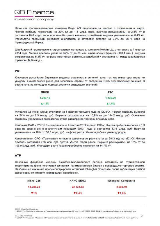 - 28.04.14 - Ежедневный обзор фондовых рынков
