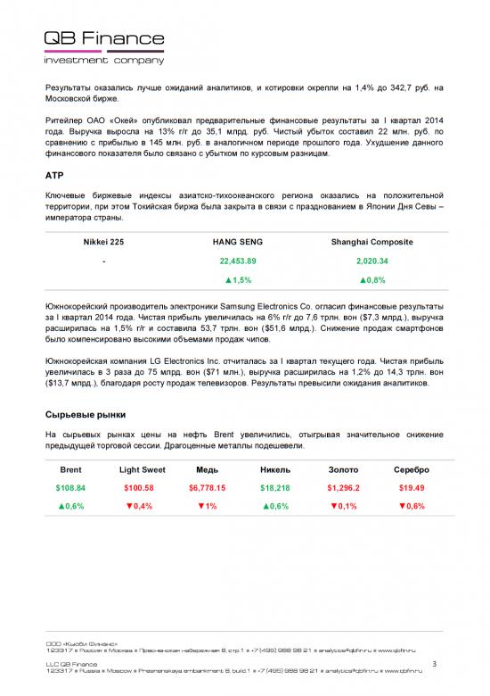 - 29.04.14 - Ежедневный обзор фондовых рынков