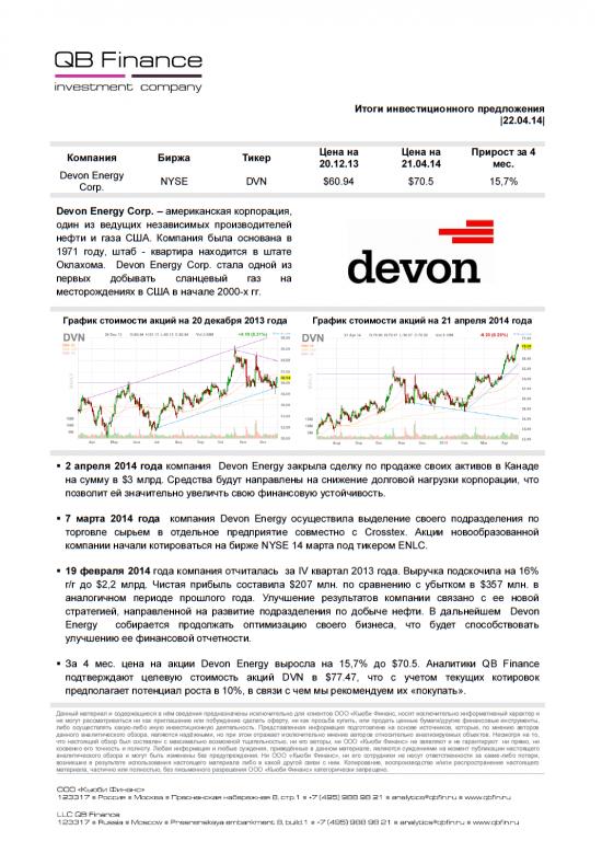 Итоги инвестиционного предложения по компании Devon Energy Corp.