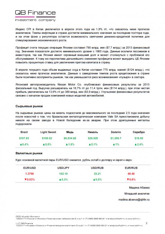 - 12.05.14 - Ежедневный обзор фондовых рынков