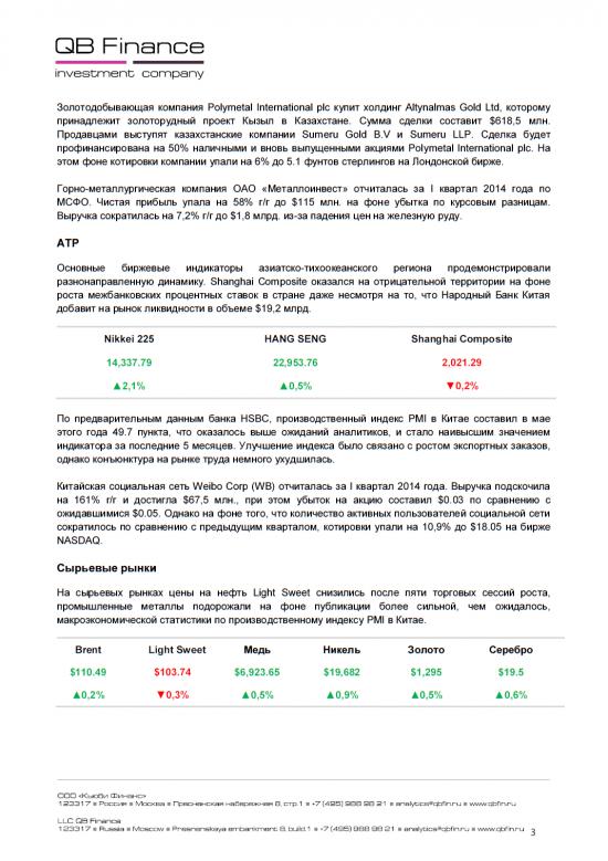 - 23.05.14 - Ежедневный обзор фондовых рынков