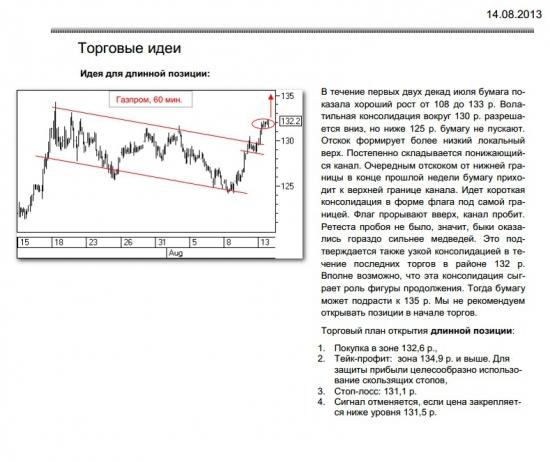 Газпром рекомендация к действию