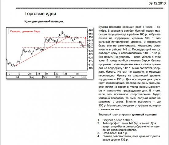 Торговая рекомендация Газпром