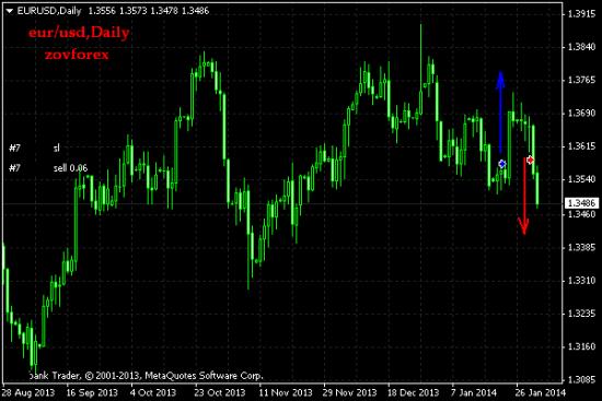 EUR/USD Daily. Результат за месяц январь 2014г.
