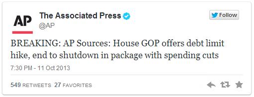 Фондовый рынок взлетел на заголовке Associated Press из твиттера.