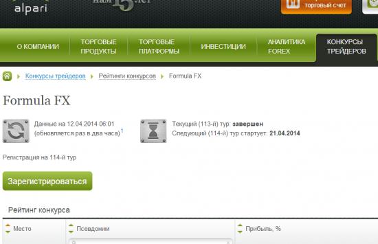 Конкурс на Альпари. Недельный :) Следующий (114-й) тур:21.04.2014–26.04.2014