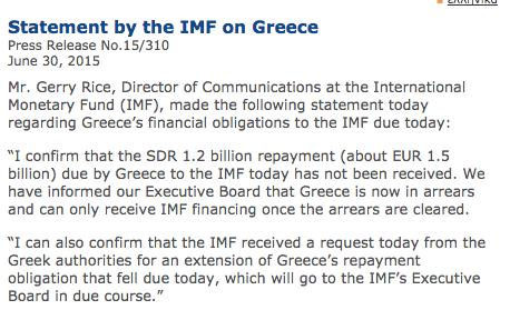 Официальное заявление МВФ по дефолту Греции