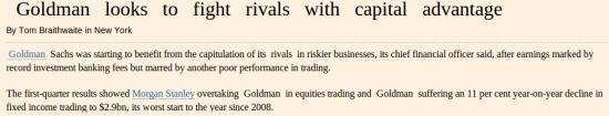 Goldman уступил JPMorgan Chase, получив худший результат с 2008 года по fixed income trading