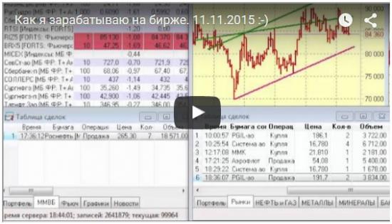 Как я зарабатываю на бирже. 11.11.2015  :)