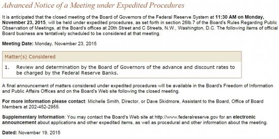 23 ноября 2015 г. состоится внеочередное заседание ФРС по ставке
