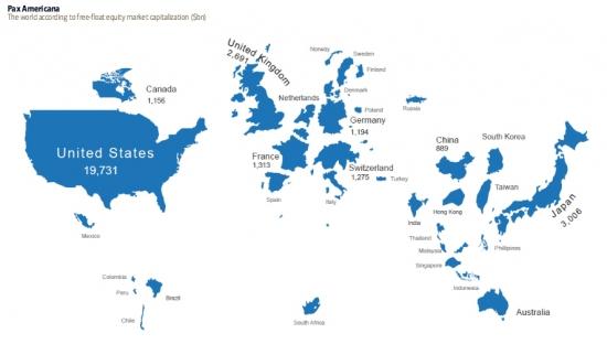 Карта мира по капитализации фондовых рынков.Жаль...