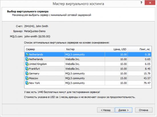 Аренда виртуальной копии платформы прямо в MetaTrader 5