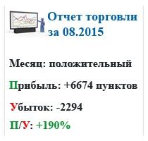 Отчет торговли за 08.2015