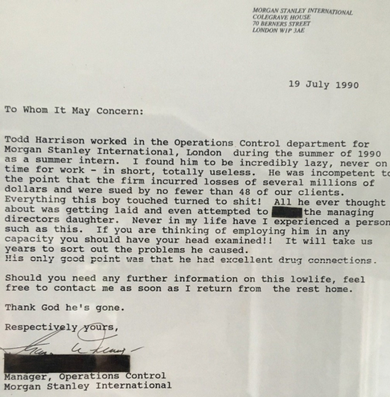 Рекомендательное письмо. Morgan Stanley. London office. 1990.