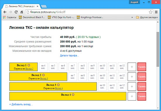 Онлайн калькулятор Лесенка ТКС