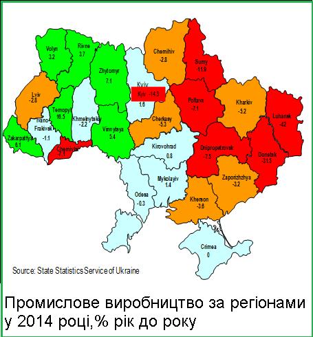 Падение производства Украина 2014 год / КАРТА