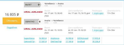 Летим на отдых Челябинск - Анапа, выбор авиакомпании...