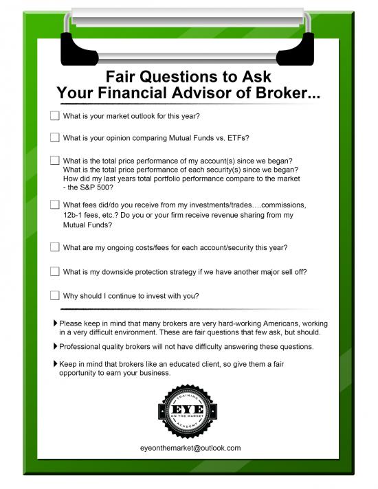 Как спасти деньги и нервы или правильные вопросы вашему брокеру/торговому советнику
