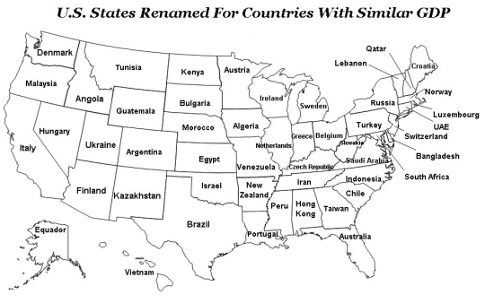 Сравнение ВВП американских штатов с ВВП других стран