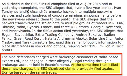 SEC сняла обвинения с компании Exante